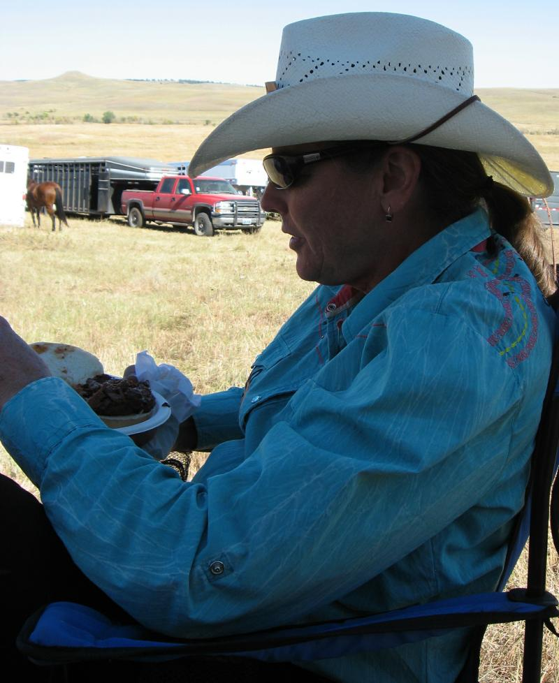 Barb Mechaley Wicks, married to my cousin Mark, has ridden horses since she was two and won all-around cowgirl in high school rodeo.