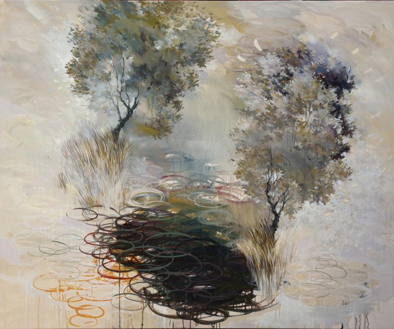 """""""Advocate Valence – Levitating Above a Stock Pond"""" by Paul Peterson. This painting won the Best in Show award."""