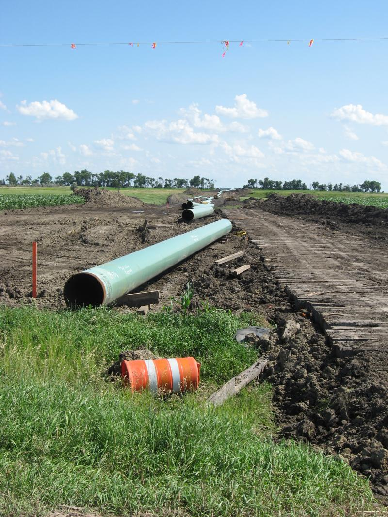 This photo, taken July 5, 2009, shows the construction of the Keystone pipeline in eastern South Dakota, a few miles northwest of Carpenter.
