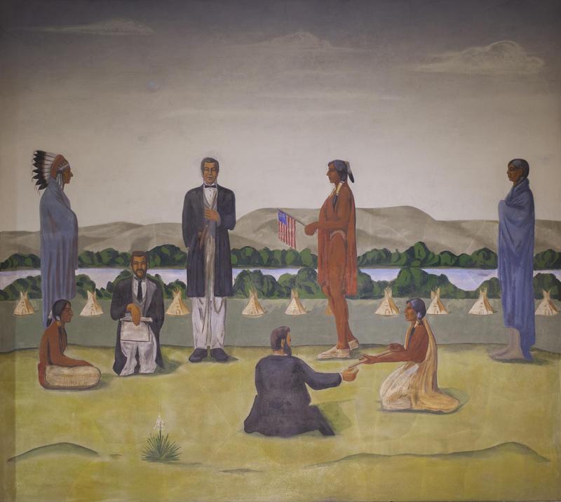 Oscar Howe's Treaty Making mural