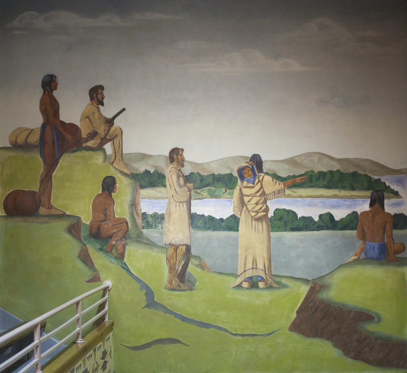 Oscar Howe's Sacajawea with Lewis and Clark mural