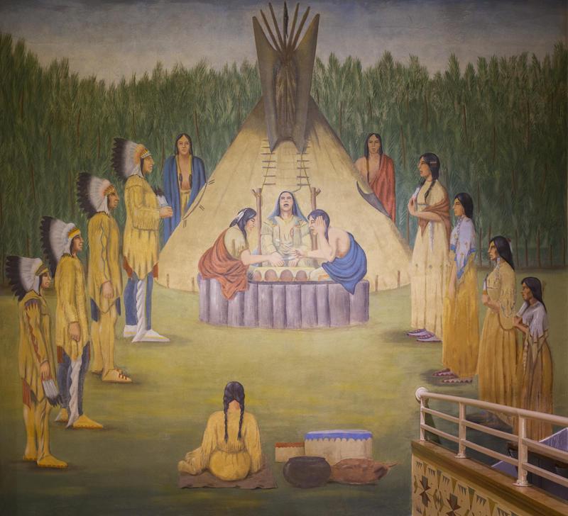 Oscar Howe's Hunkapi Ceremony mural