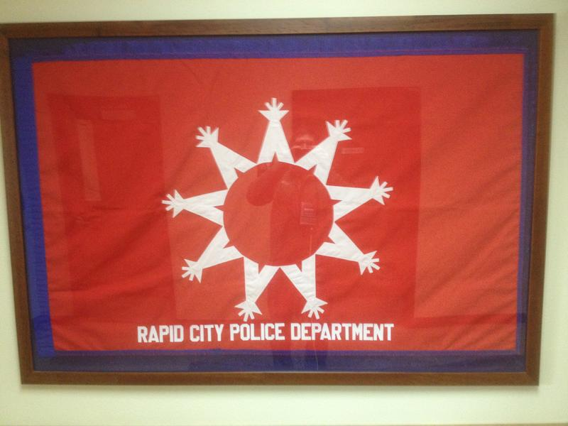 A special flag given to the Rapid City Police Department by Oglala Sioux Tribal police in 2008.