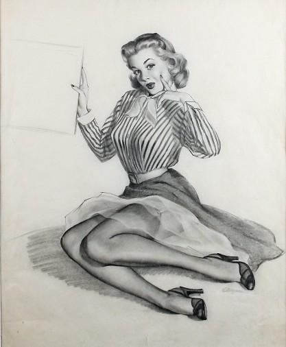 """Waiting for You"" sketch by Gil Elvgren"