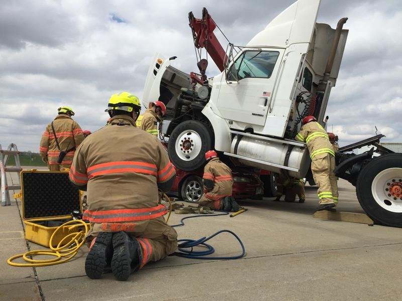 Sioux Falls Fire Rescue crews train for crashes involving large vehicles and equipment. / April 2015