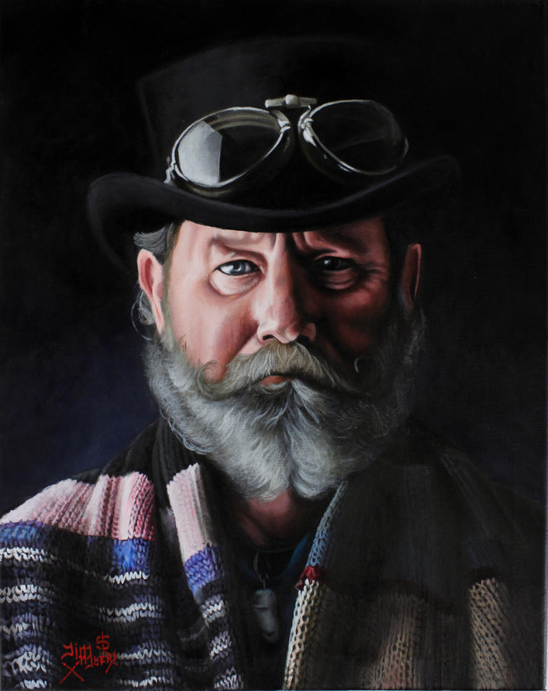 Jim Myers, Portrait of a Biker Friend, 2015, acrylic on canvas