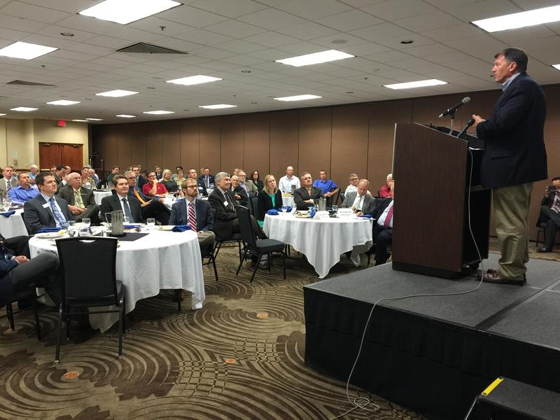 US Senator Mike Rounds speaks at the Sioux Falls Area Chamber of Commerce luncheon / August 25, 2015