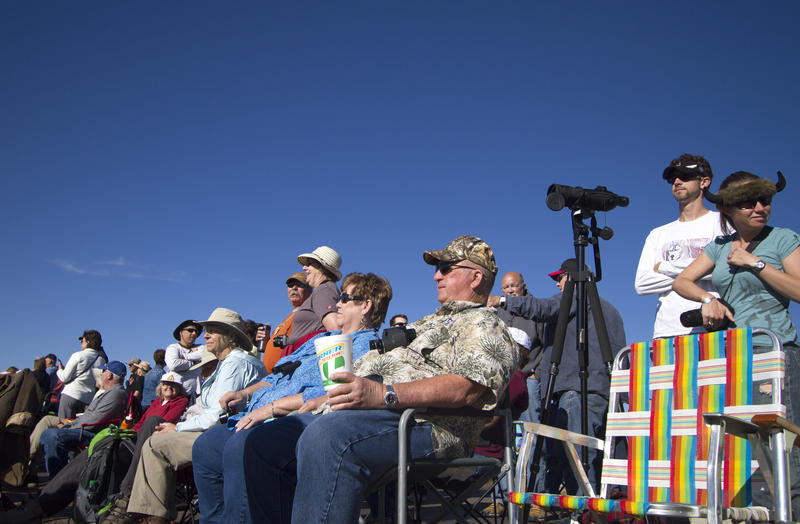The crowd waits for the Buffalo Roundup to begin in Custer State park on Friday morning.