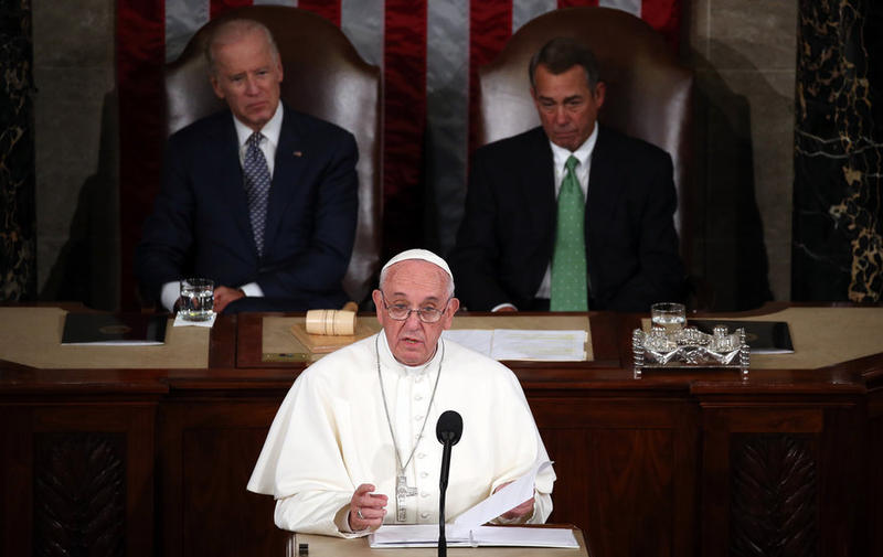 Pope Francis speaking to congress on Thursday