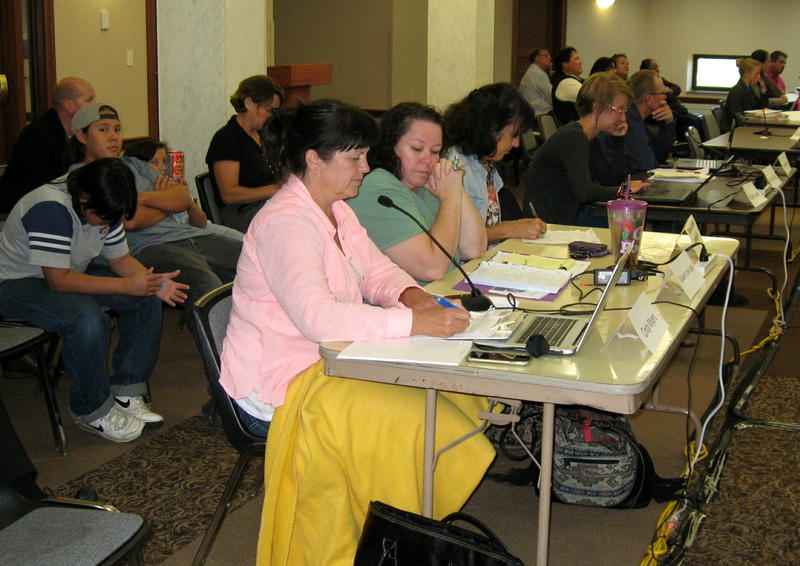 Cindy Myers, in pink, testifies this summer before the PUC. Her testimony there is at issue at PUC's October 29 meeting.