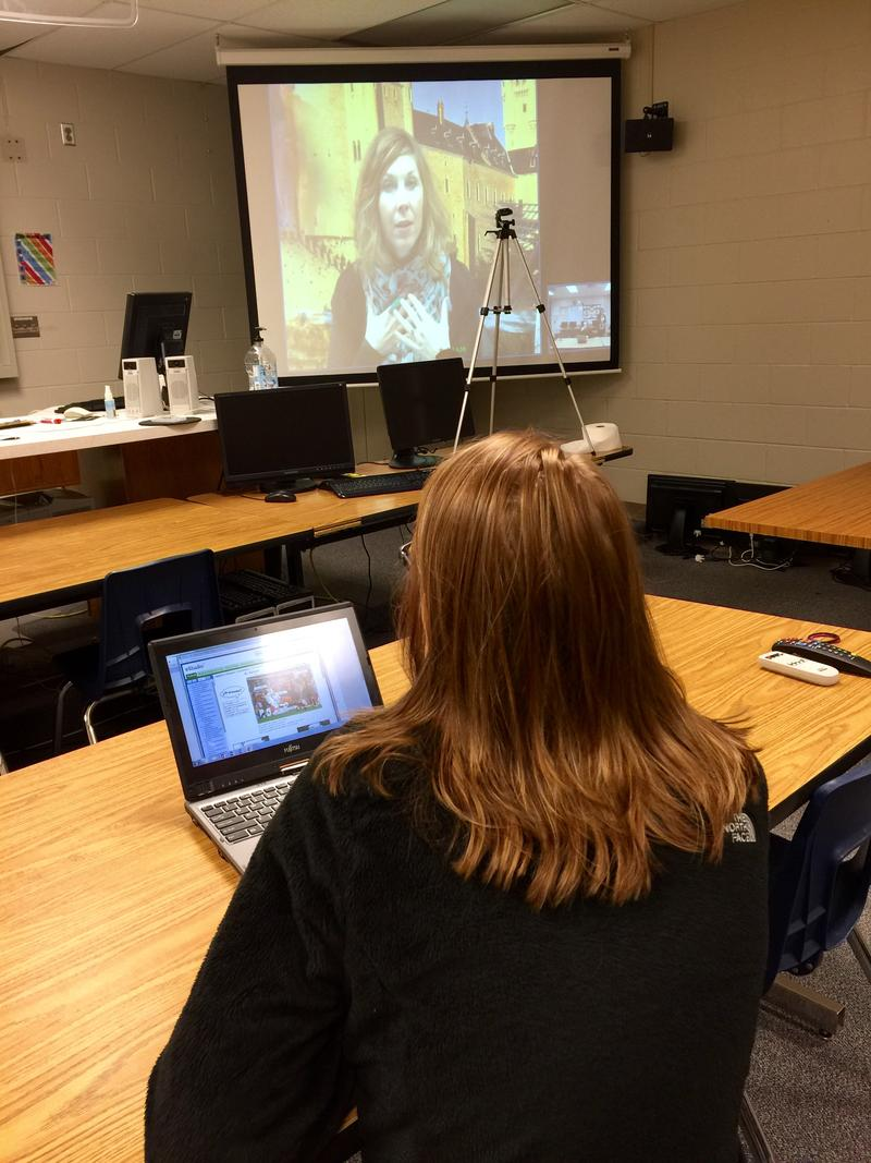 Teacher Gayla Martens makes a virtual appearance in Baltic for Brooke Hart's Spanish lesson.
