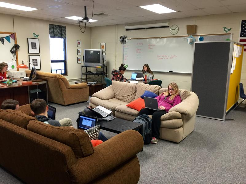 Students works in a quiet room that serves as Baltic's online learning center.