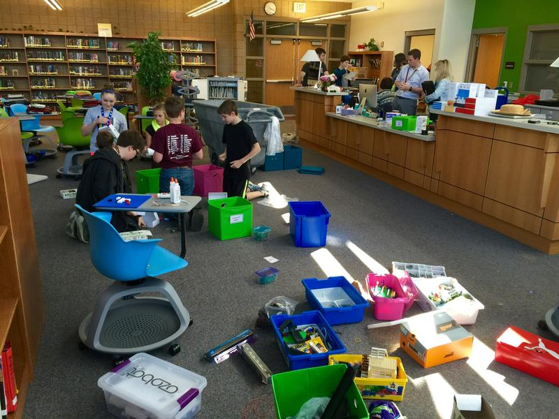 Students organize in the makerspace at Harrisburg's South Middle School