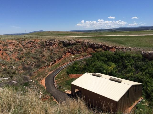 The Vore Buffalo Jump is located at the bottom of a sinkhole near Beulah, Wyoming.