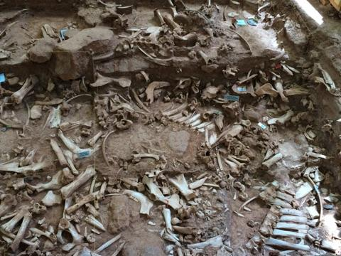 Archaeologists are able to identify the ages of the bones by analyzing the dirt found around them.