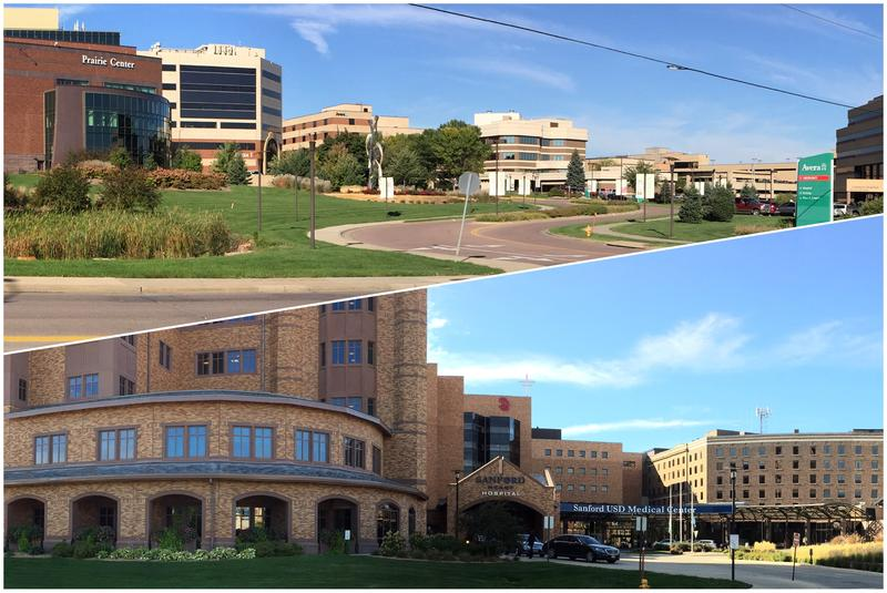 Main campuses for Avera Health (above) and Sanford Health are blocks away from one another in Sioux Falls.