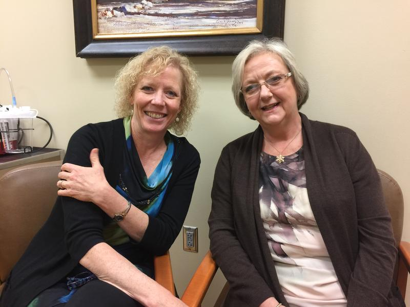 Avera's Dr. Julie Reiland laughs with patient Lu Rice.