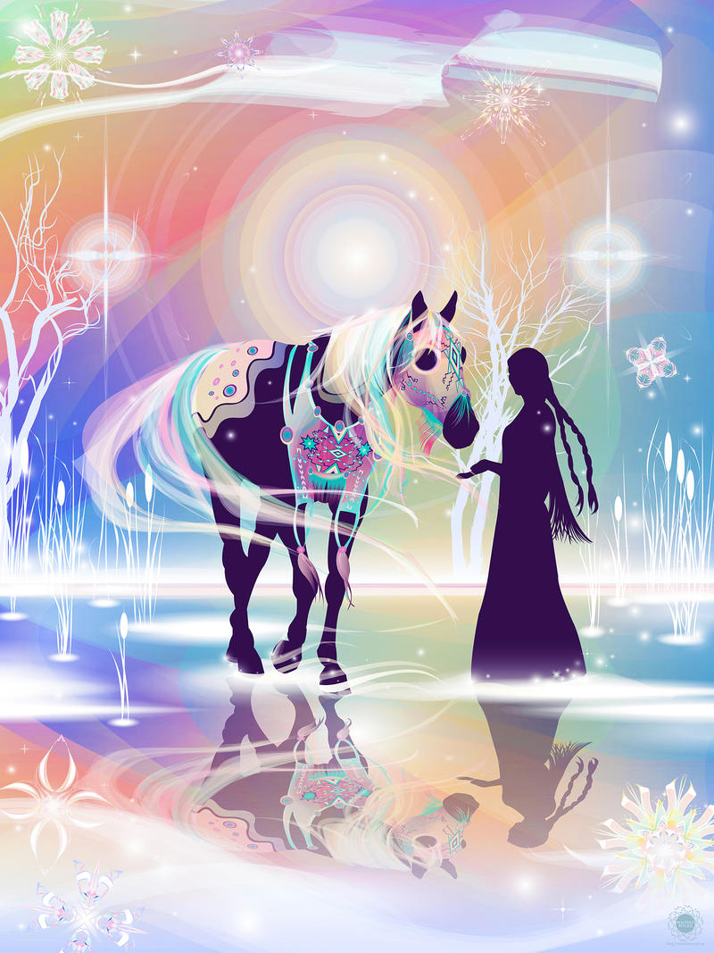 """Northern Lights Horse"" Digital vector illustration on canvas - Marlena Myles (Mahpetonwan & Sisitonwan; Spirit Lake Dakota; Spirit Lake Tribe)"