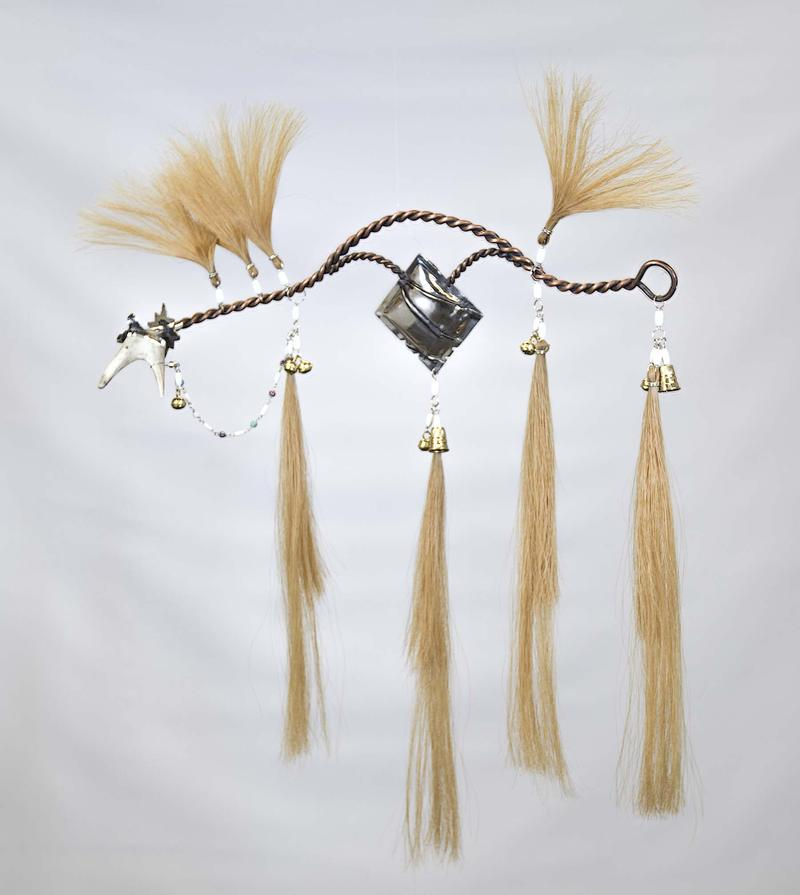 """Horse - East Direction"" Sterling silver, copper, brass hawk bells, thimbles, natural colored horse hair - Nelda Schrupp (Ihanktonwan; Pheasant Rump Nakota; Pheasant Rump Nakota First Nation Reserve)"