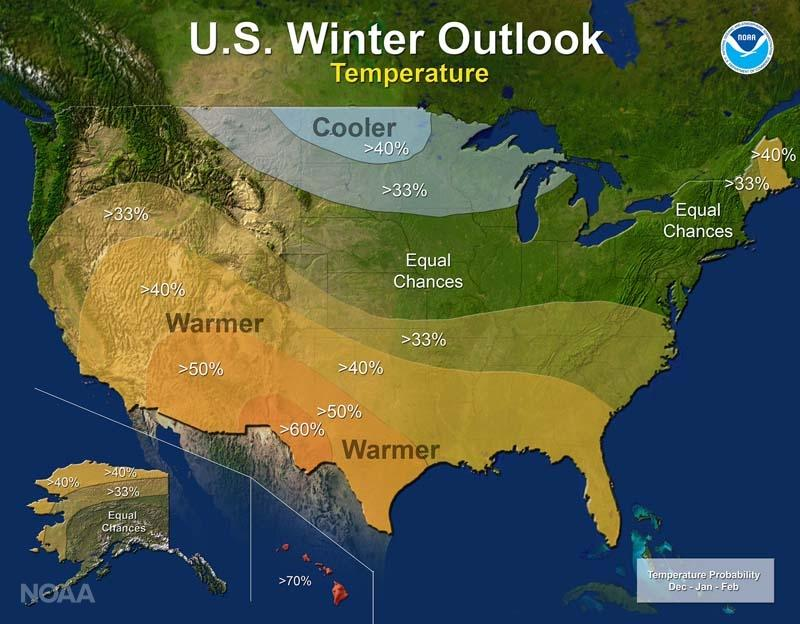 Noaa Cold Winter Maybe Ahead For Sd Sdpb Radio - Us-weather-service-map