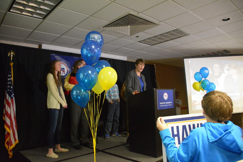 State Lawmaker Paula Hawks thanks her supporters in Sioux Falls on Election Day
