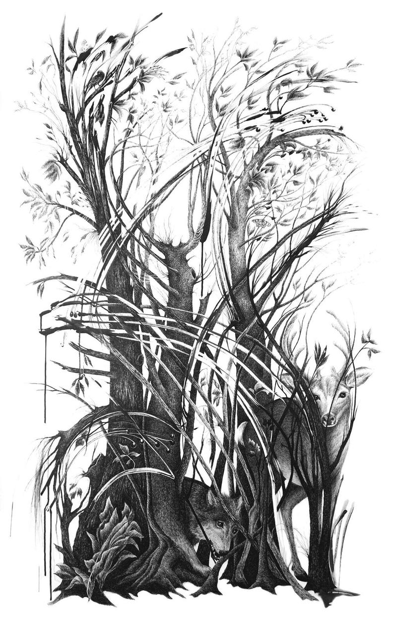 "The ink drawing ""Big Tangle"" looks like an illustration from a children's book of fables. This is one of Buchman's large ink on paper drawings."