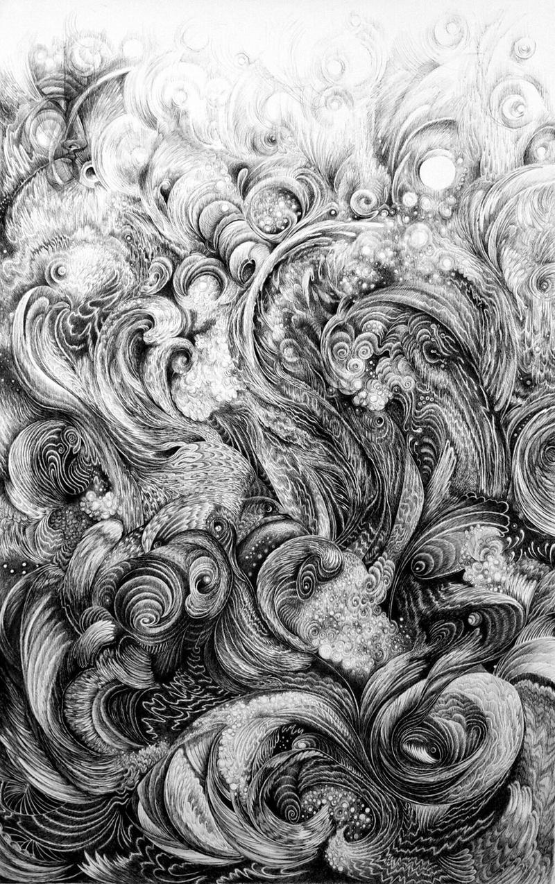 """Kaye Buchman's ink drawing """"Big Water"""" is one of many images of nature."""
