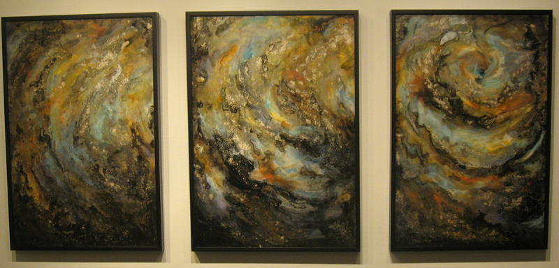"Kaye Buchman's triptych ""Overboard"" is constructed of layers of pigment on birch board and on polyester film."