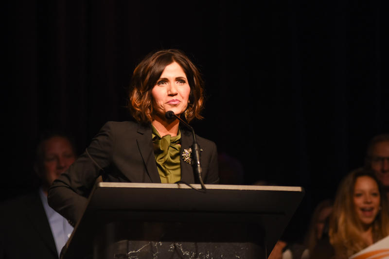 Congresswoman Kristi Noem addressing the crowd after being re-elected on Tuesday