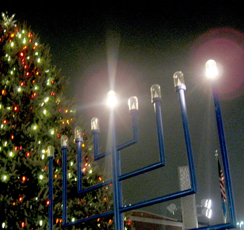 The Menorah in Main Street Square is donated by Stan Adelstein, former state senator and Rapid City philanthropist