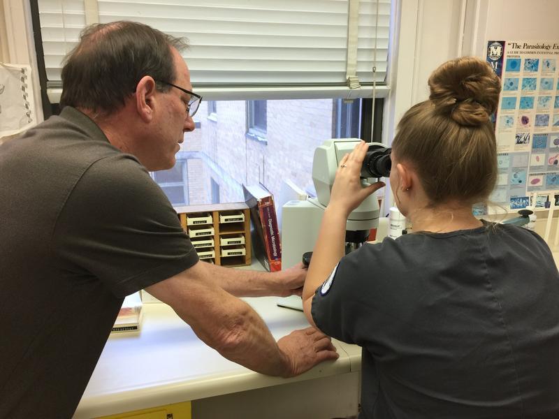 HRMC Lab Director Owen Bain talks with intern Greta Hinricher.