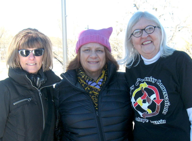 "Dorothy ""Rowdy"" Brewick, right, organized the march, along with Deb Lux, center, Barb Chapman, and many others."