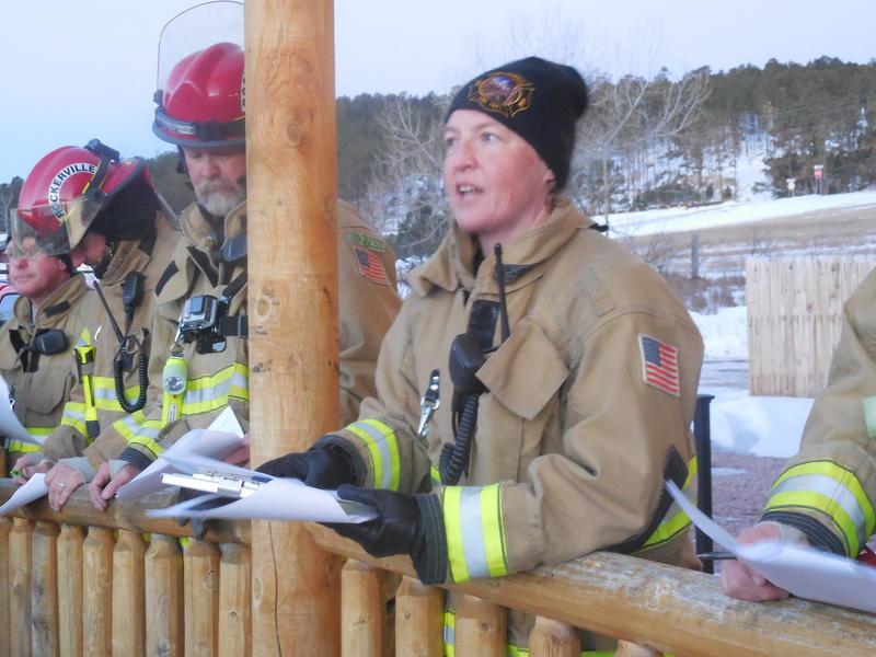 Rockerville Volunteer Fire Department Chief Gail Schmidt gives instructions to her teams prior to the start of the prescribed fire in Rockerville, S.D.