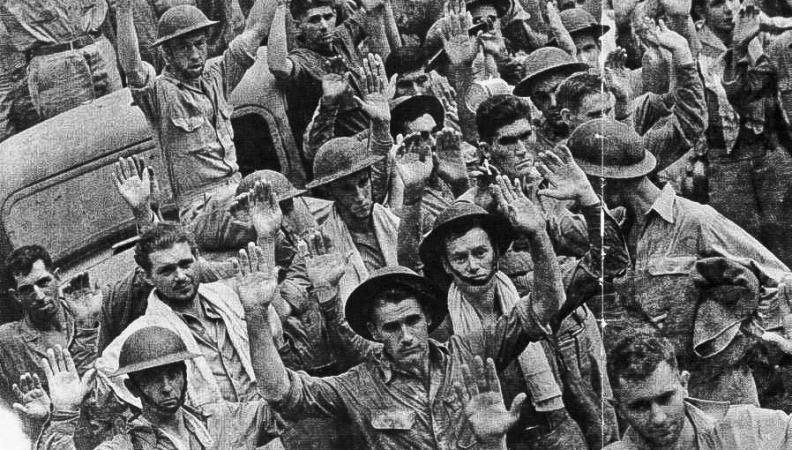 Americans surrendering in Bataan