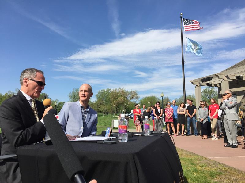 Governor Dennis Daugaard announces SD Faces of Travel alongside Tourism Secretary Jim Hagen.