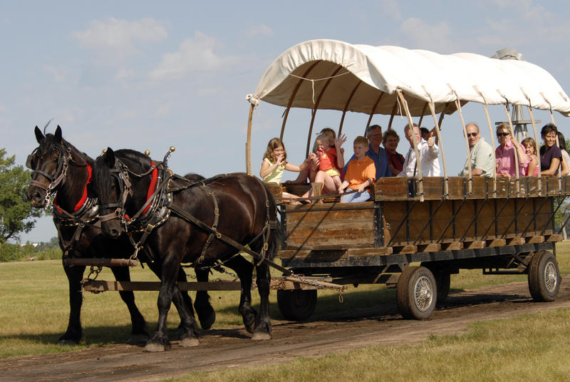 A covered wagon ride