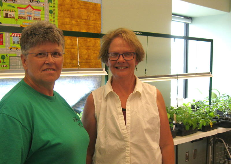 Shelby Anderson, left, and Beth-Anne Ferley test gardening techniques at the landfill. In background are plants started indoors under grow lights.