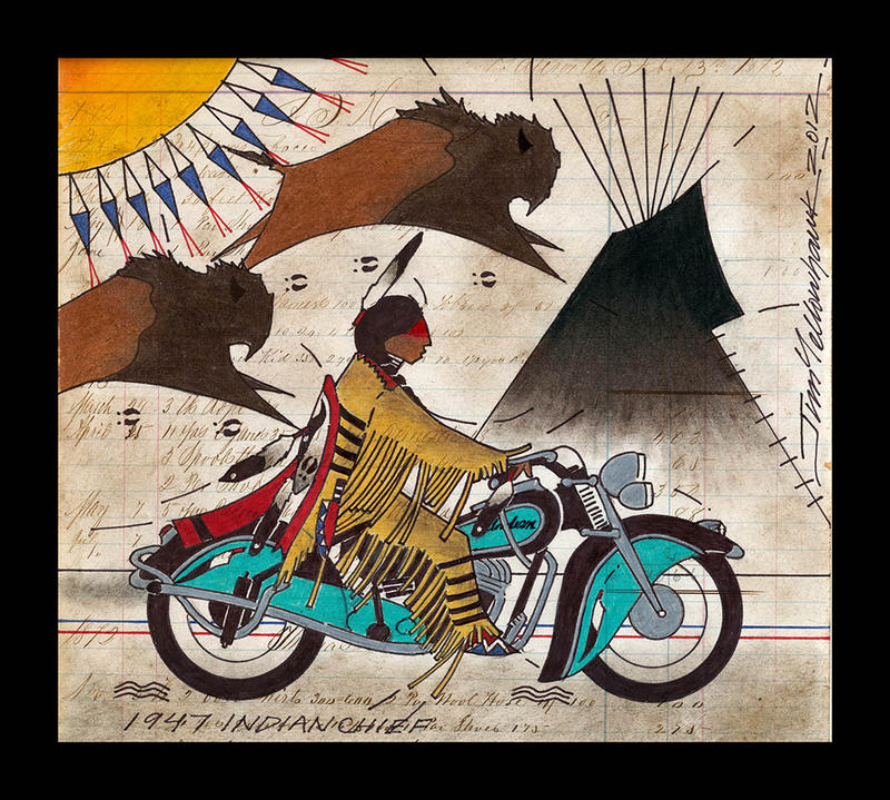 "Jim Yellowhawk's ledger art, ""1947 Indian Chief,"" uses a historical art form to depict modern machinery."