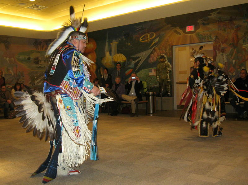 Stephen Yellowhawk, foreground, and Jim Yellowhawk perform traditional dance.