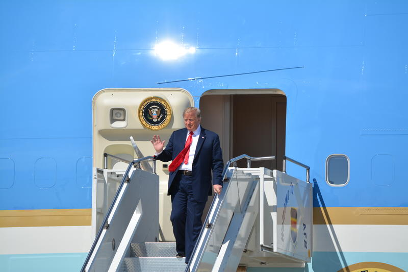 President Donald Trump arrives in Sioux Falls.