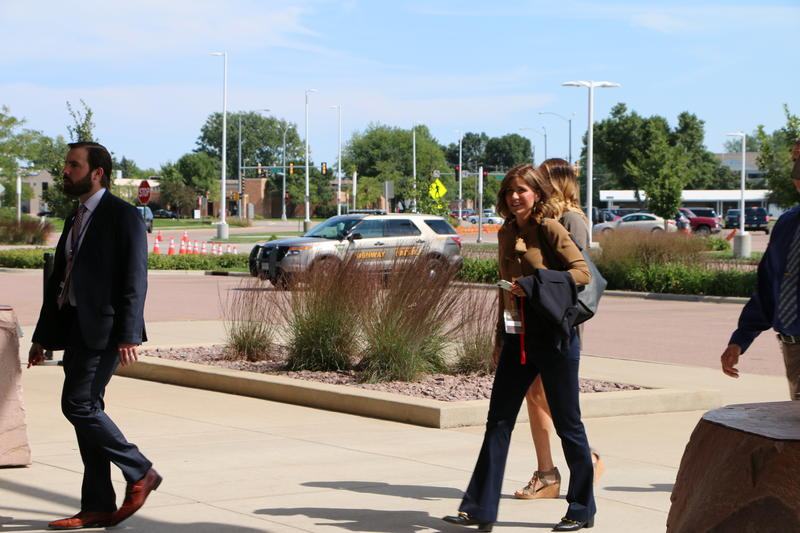 U.S. Representative and Republican candidate for governor Kristi Noem arrives at the Sioux Falls Convention Center about an hour before the president is scheduled to land.