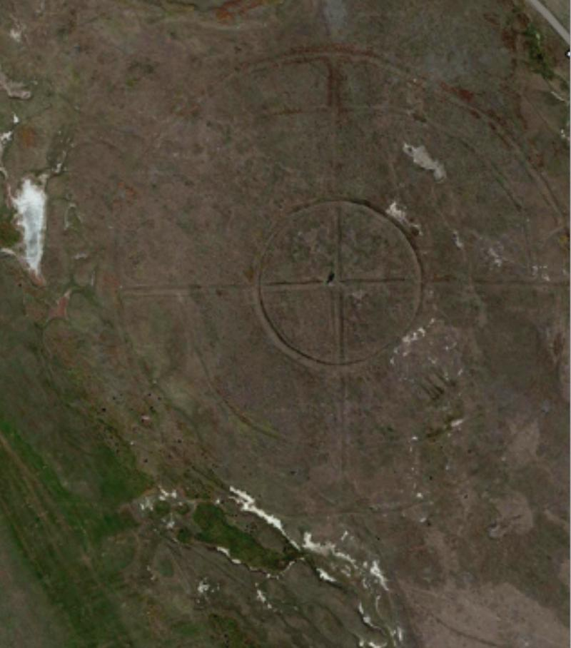 The bombing-range target as seen from a satellite image. Notice the cottonwood tree in the crosshairs.