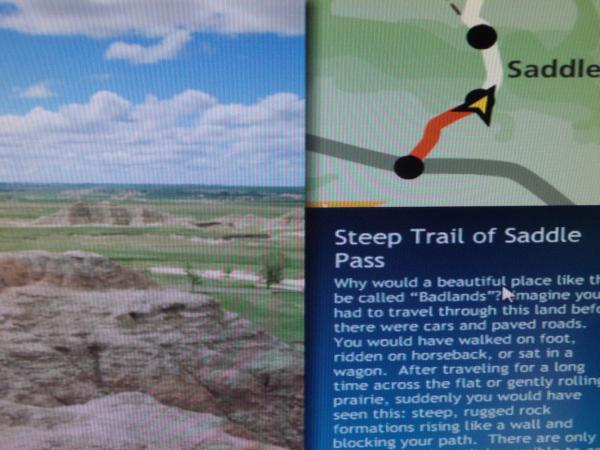 Web Ranger iHike program showing SDPB journalist Jim Kent's progress on a virtual hike through Badlands National Park.