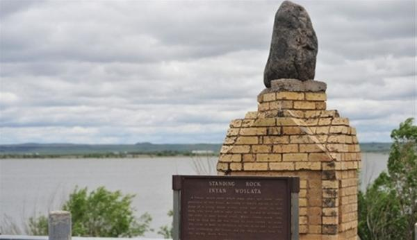 Monument to the oral history of the Standing Rock located near the tribe's administrative offices.