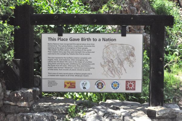 New signage at Wind Cave National Park reflects Native American culture and history.
