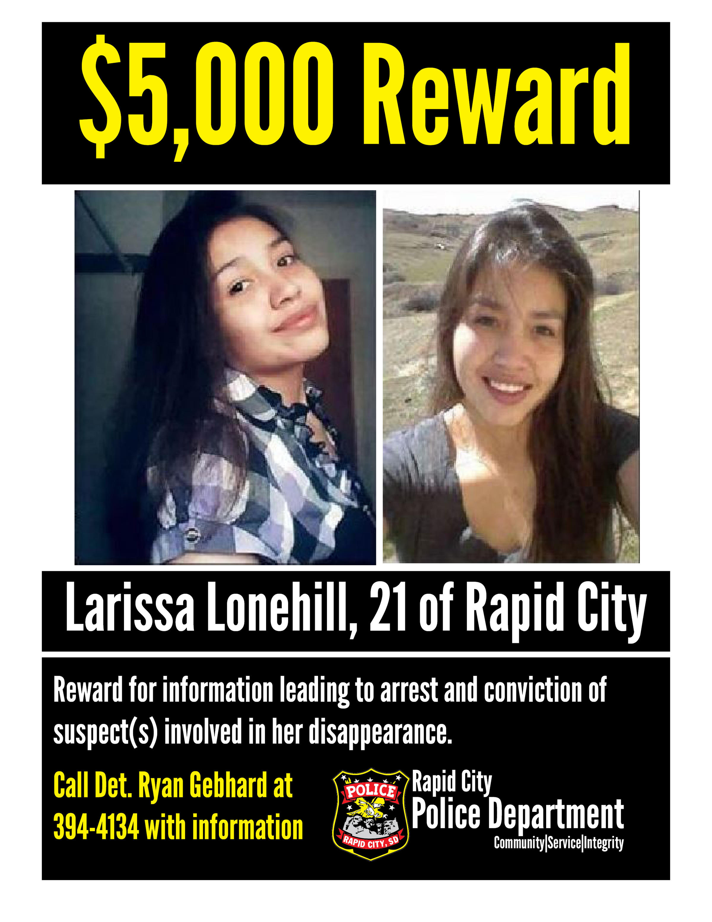 RCPD Offers $5,000 Reward For Assistance In Missing Person Investigation  Missing Person Flyer