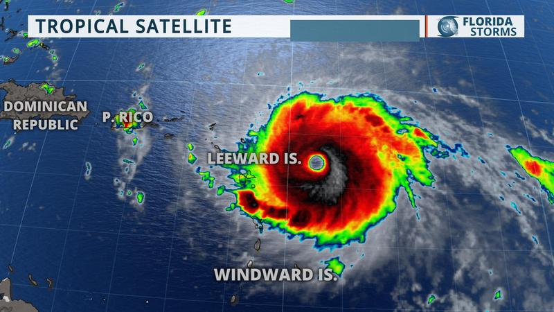 Category 5 Hurricane Irma Approaching Leeward Islands