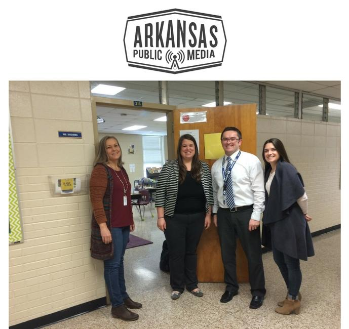 ... behavior classroom teacher Stefanie Siedsma, principal Josh Draper and  district behavioral specialist Lindsey Lovelady stand outside the school's  new ...