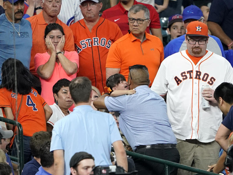 Child Struck By Foul Ball At Cubs Astros Game Player Breaks Down