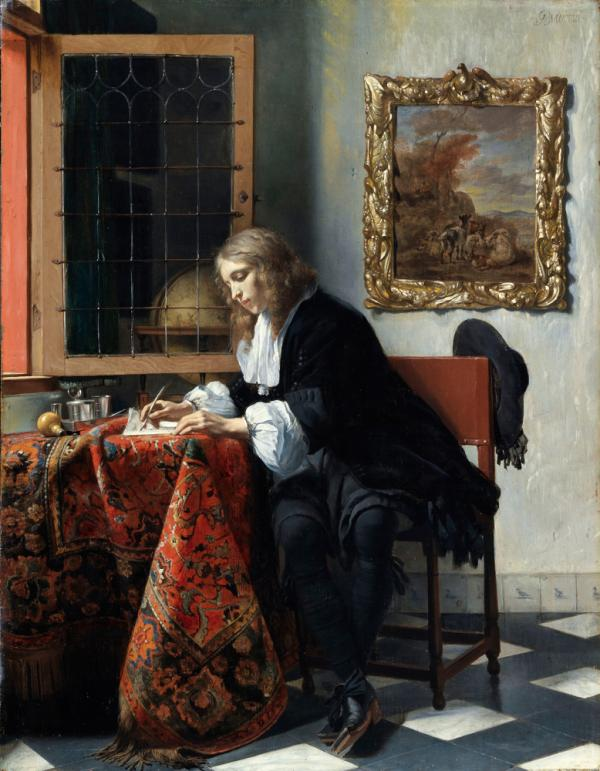 In his 1664 painting, <em>A Man Writing a Letter</em>, Metsu depicts a handsome young scribe penning his correspondence in an opulent study.